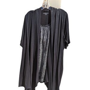 Croft & Barrow 2 in 1 Top & Attached Cardigan 1X